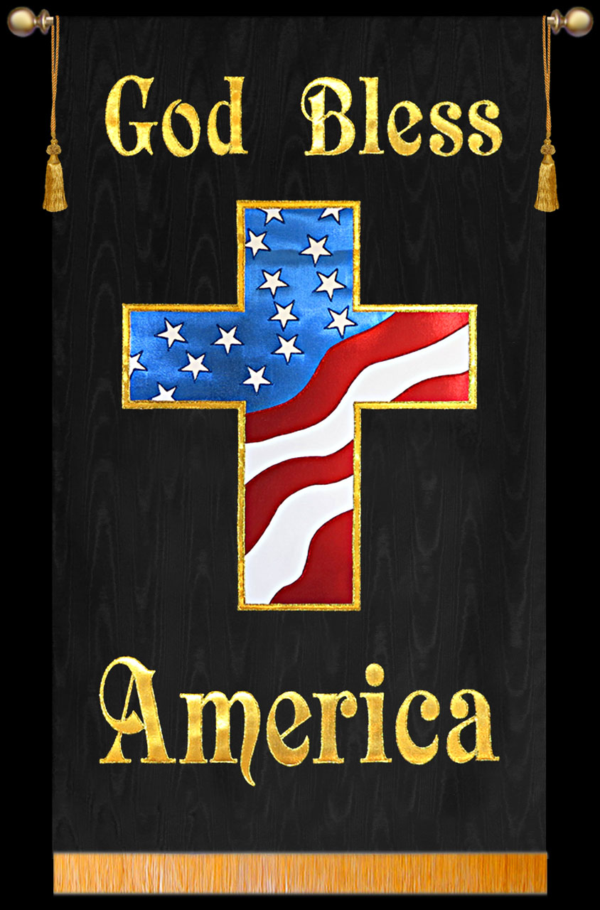 Great looking Patriotic Church Banner. Colors really jump off the contrasting background!