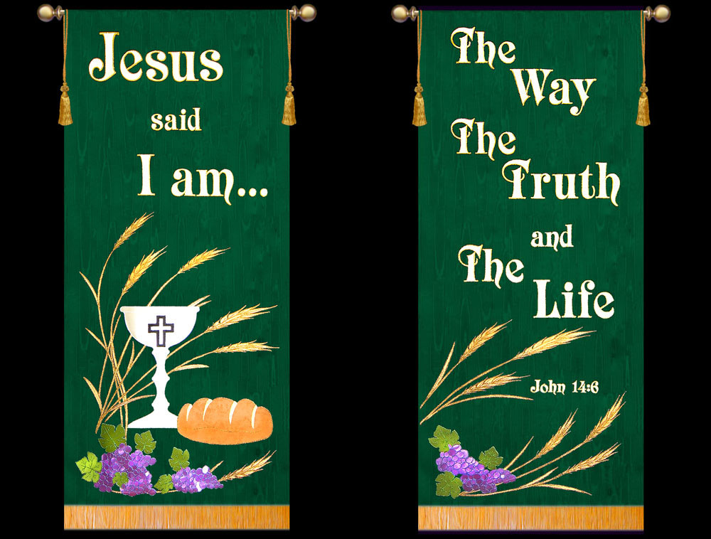 Liturgical Banners for ordinary time is green as shown on these Worship and Praise Banners
