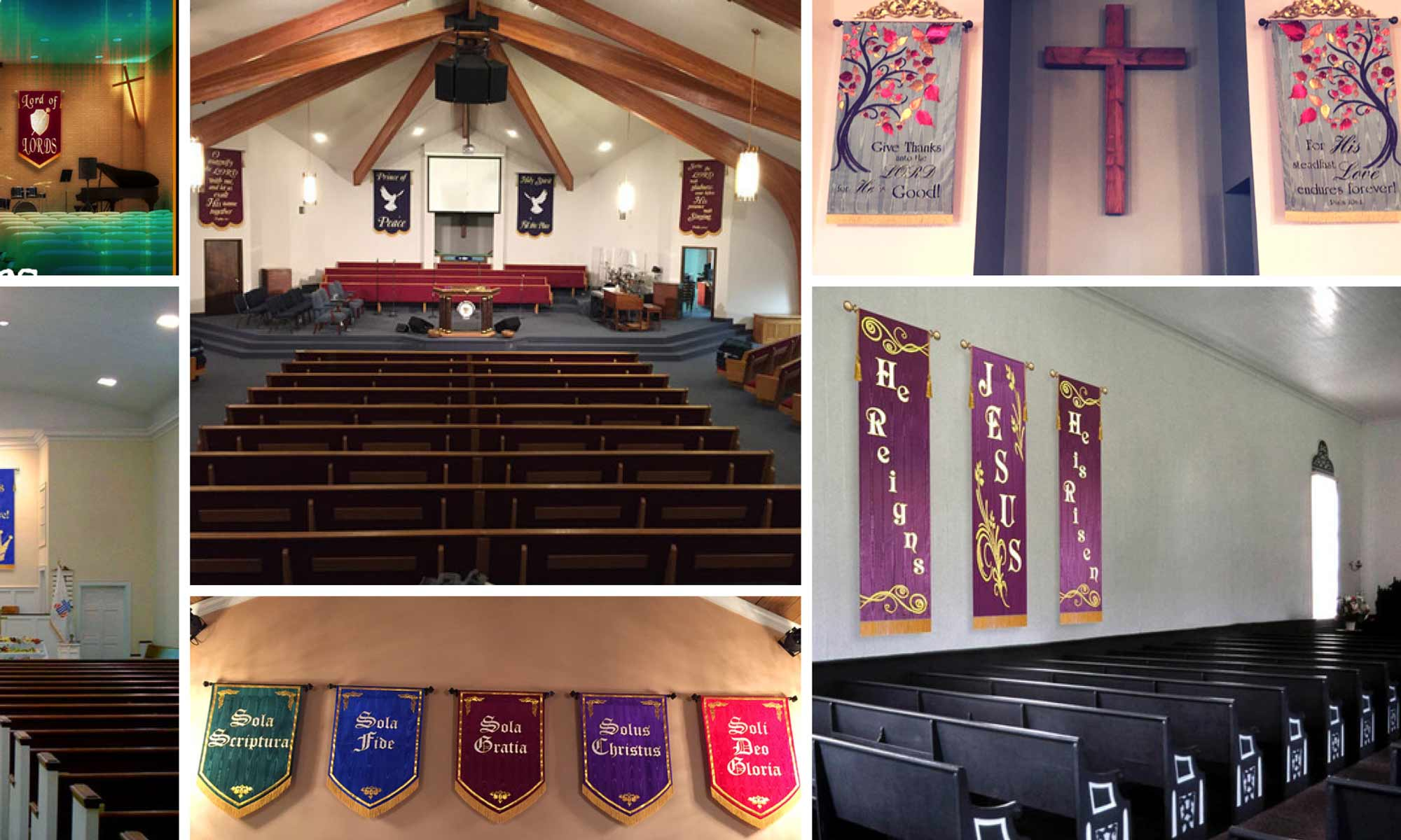 Montage of church walls that really show how church banners can decorate your church walls