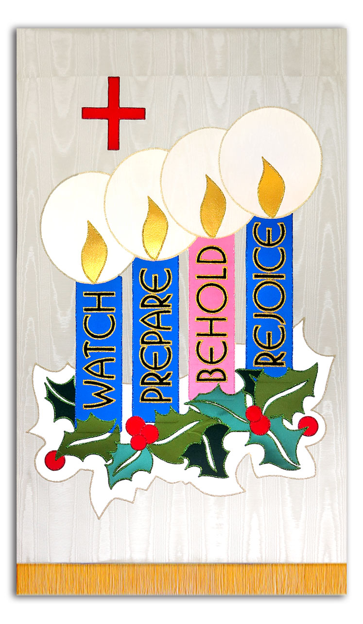 Advent has 4 weeks with the colors as shown on this Liturgical Banner